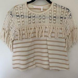 SEE BY CHLOE cream/tan striped fringe shirt